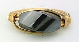Hematite Twist Gemstone Bead Gold Wire Wrap Ring sz.8.5 - $10.08
