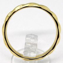 18K YELLOW GOLD BAND BRAIDED RING, BRAID WOVEN, SMOOTH, MADE IN ITALY image 3