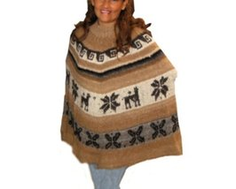 Alpakaandmore Womens Poncho Alpaca Wool Hand-knitted Brown (One Size) [Apparel] - $91.08