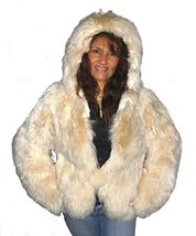 Alpakaandmore Women's Short Hooded Fur Coat Babyalpaca (Medium) [Apparel] - $529.65