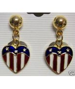 4th of July Americana Patriotic Earrings Red Blue Pierced - $7.00