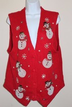 Ugly Christmas Sweater Vest Women's Size Medium Red Beaded Snowman Bling - $16.14
