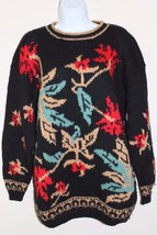 Karen Kane Knit Sweater Christmas Holly Flowers Size Small Red Green Bla... - $13.72