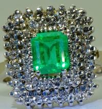 Amazing Art-Deco 18k white gold, Diamonds&1.1ct Emerald cluster ring+CERTIFICATE - $3,500.00