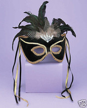 Sexy Masquerade Karneval 1/2 Mask Feathers Black/Gold - $24.99