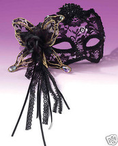 Sexy Masquerade Karneval 1/2 Mask - Butterfly, Rose Lace Black - $27.99