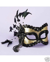 Sexy Masquerade Karneval 1/2 Mask Feathers & Beads - Black/Gold - $24.99