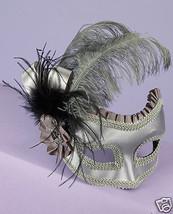 Sexy Masquerade Karneval 1/2 Mask Feathers Silver Satin - $26.99