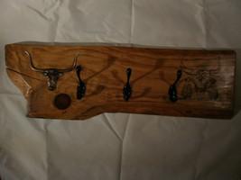 Handmade wood burnt hardwood Bull Skull coat/ha... - $79.99
