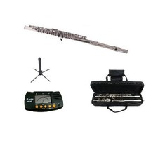SILVER FLUTE WITH CASE KEY OF C + METRO TUNER + STAND - $99.99