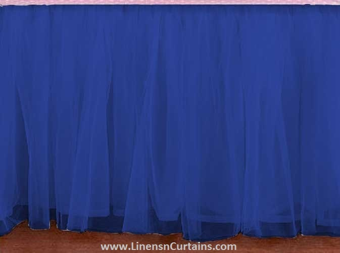 royal blue tulle layer ruffle table skirt table