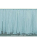 Sky Blue Tulle Double Layer Ruffle Table Skirt - $119.99+