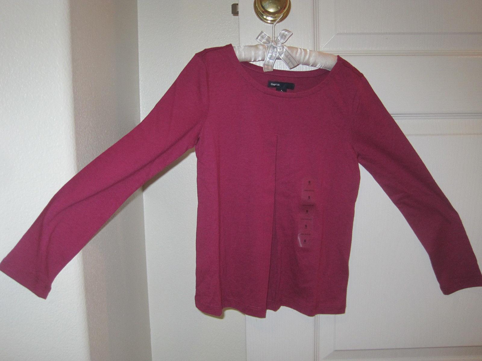 GAP Kids Girl T-shirt Tee Sz S 6 7 Long Sleeve Pleated  Hot Pink Cotton Top New