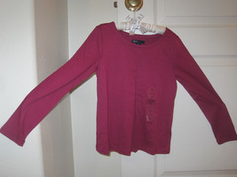 GAP Kids Girl T-shirt Tee Sz S 6 7 Long Sleeve Pleated  Hot Pink Cotton ... - $14.99