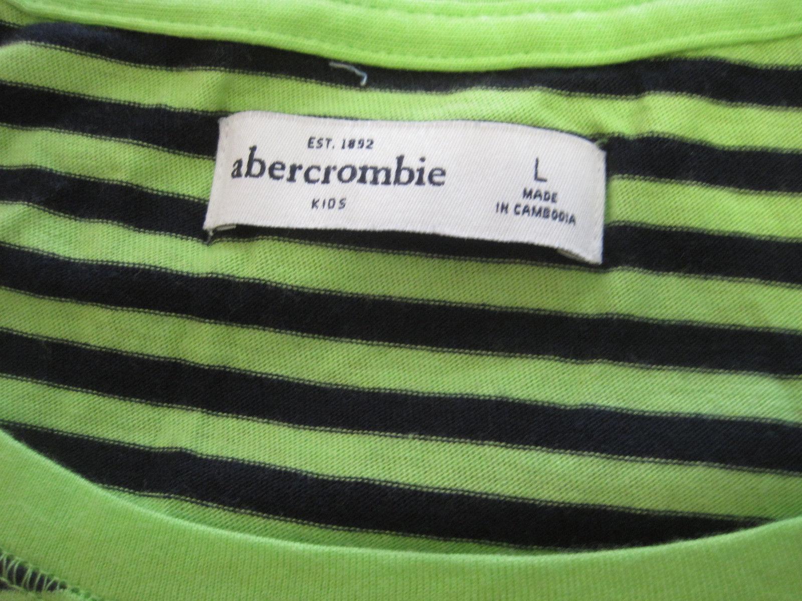 Abercrombie Kids Tee Top Sz L 14 Black Green Stripe Long Sleeve Cotton Blend New
