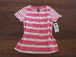 GAP Kids Girls T-shirt Top Sz 5 Pink Striped Pleated Cotton Crew Neck New - $13.99