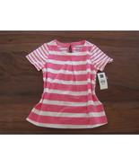 GAP Kids Girls T-shirt Top Sz 5 Pink Striped Pleated Cotton Crew Neck New - $13.99