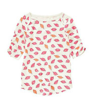 Crazy 8 Girls Tee Shirt Sz S 5 6 Ruched Short Sleeve Lip Print Ivory Cot... - $12.88