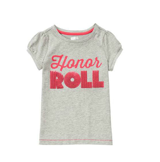 Crazy 8 Girls Tee Top Girl Sz S 5 6 Grey Graphic Honor Roll Short Sleeve Cotton