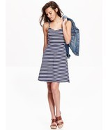 Old Navy Women Cami Dress Sundress XSP SP Navy Blue Stripe Crisscross Flare - £19.20 GBP