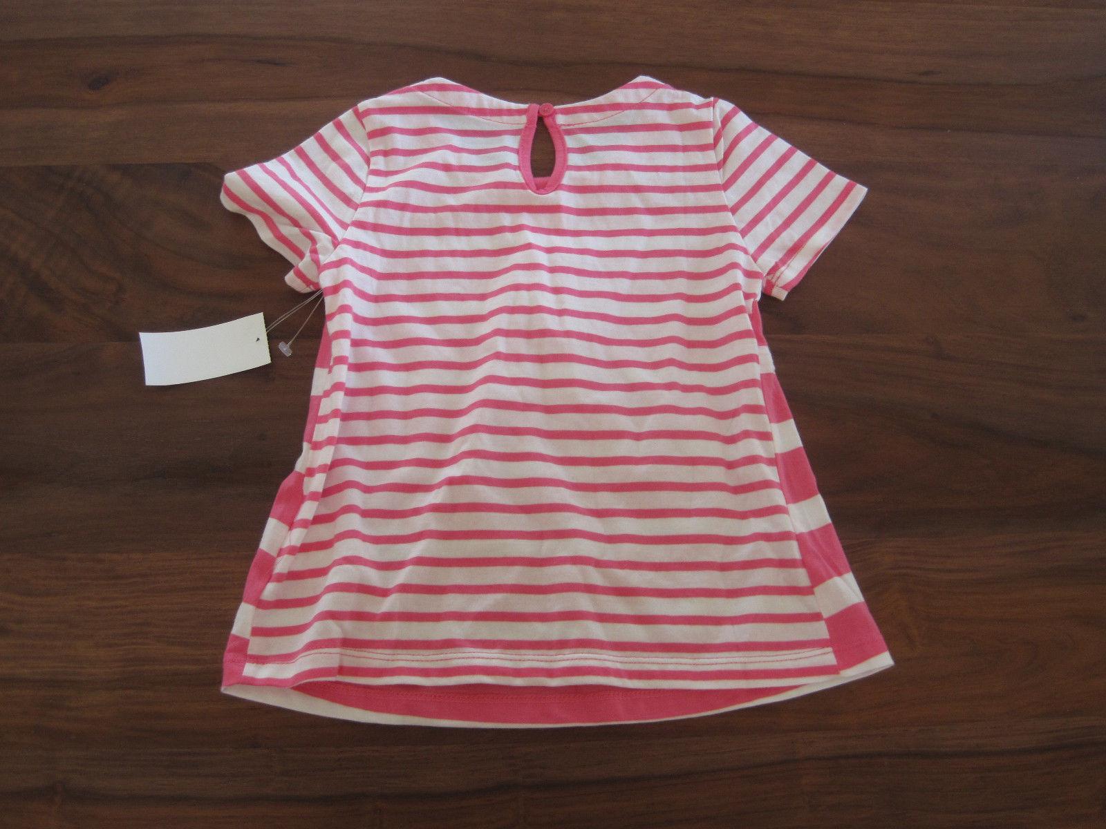 GAP Kids Girls T-shirt Top Sz 5 Pink Striped Pleated Cotton Crew Neck New