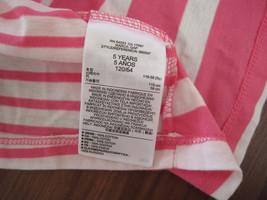 GAP Kids Girls T-shirt Top Sz 5 Pink Striped Pleated Cotton Crew Neck New image 3