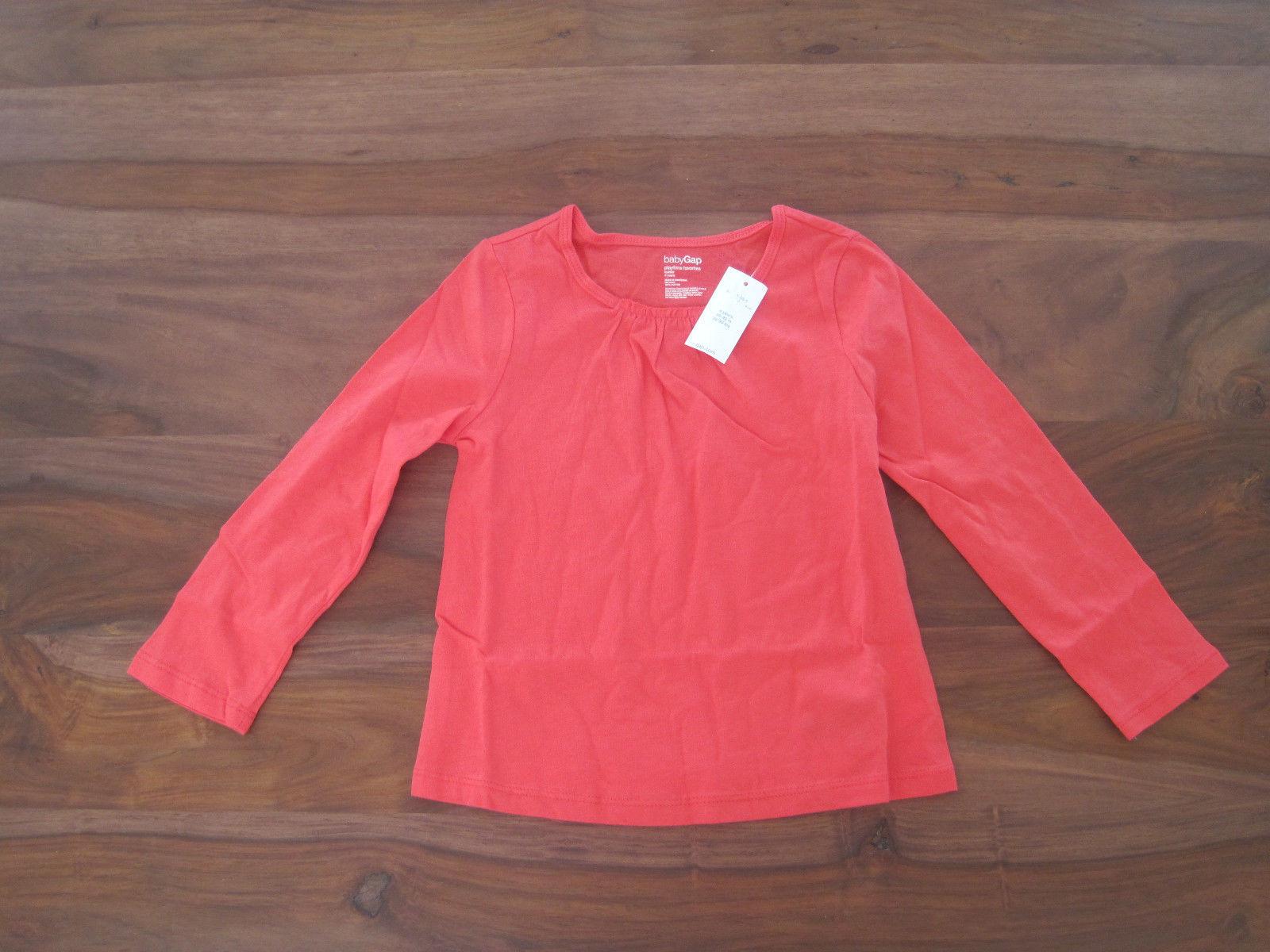 Gap Baby Girl Tee Top  Sz 4 Orange Ruffle Long Sleeve Roun Neck 100%  Cotton New