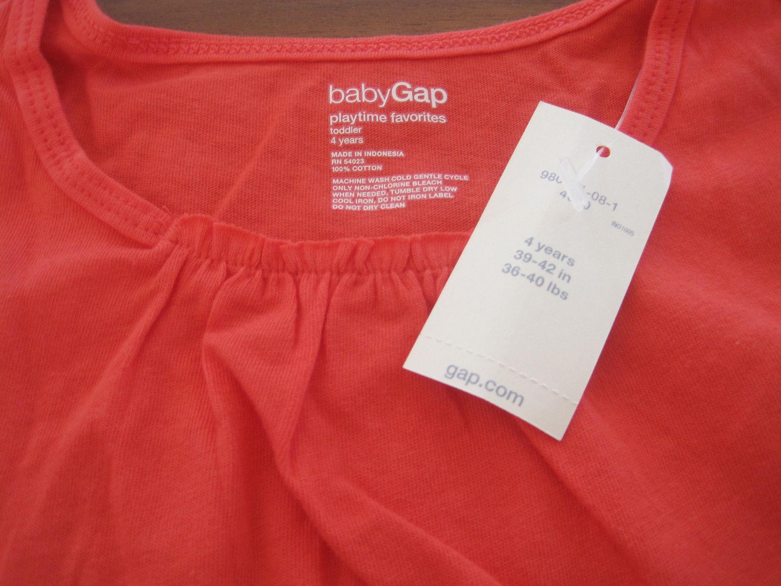 Gap Baby Girl Tee Top  Sz 4 Orange Ruffle Long Sleeve Roun Neck 100%  Cotton New image 3