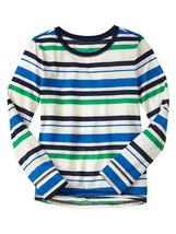 GAP Kids Girls T-shirt Tee 6 7 Long Sleeve Cute Crew Neck Green Navy Str... - $14.99