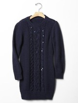 Gap Kids Girl  Sweater Dress Sz 12 XL Black Sequin Cable Knit Long Sleev... - $34.95