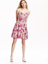 Old Navy Cami Dress Sz S Floral Print Warm Pink Fit & Flare Lined Rayon New - $29.99