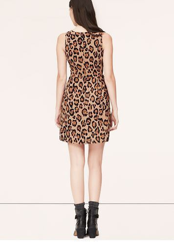 Ann Taylor LOFT Dress Sz 0 2 4 8 Animal Print Leopard Sleeveless Fit & Flare