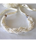 8 Strands Cream Luster Pearls & Acrylic Beads Cream Ribbon Perfect  For ... - $14.85
