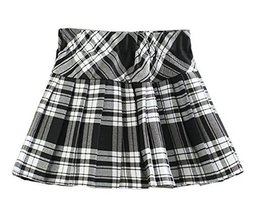 Girl`s Plaid Double Layers Elasticated Pleated Skirt(Child S, White black) - $23.75