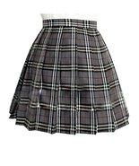Women`s School Uniform High Waist plus size kilt Pleated Skirts(4XL, Grey ) - $22.76