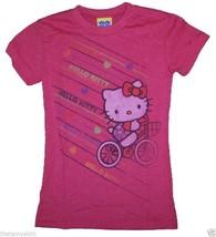 New Authentic Junk Food Hello Kitty Riding Bike Girls Tee Shirtin Red - $14.87