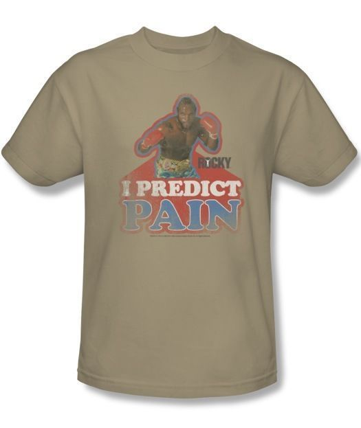 c2e3422520a7 S l1600. S l1600. New Authentic Mens Rocky Clubber Lang I Predict Pain  Retro Tee Shirt