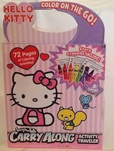 Hello Kitty Color on the Go Carry Along Travel Book & Crayons NEW EASTER... - $5.94