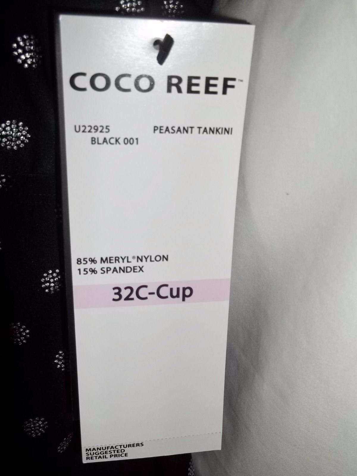 COCO REEF BLACK PEASANT TANKINI, SIZE 32C,NWT