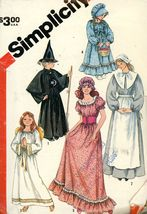 Simplicity 5741 Girl's  Witch, Angel, Pilgrim, Prairie, Colonial Sz 10-1... - $2.00