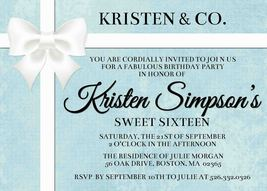Tiffany Inspired Birthday Party Invitation: Personalized, sweet sixteen - £0.74 GBP