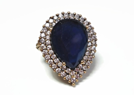 925 Silver Blue Sapphire & Topaz Cocktail Ring with 8.6 Ct of Natural Ge... - $364.00