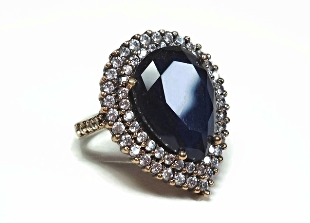 925 Silver Blue Sapphire & Topaz Cocktail Ring with 8.6 Ct of Natural Gemstone