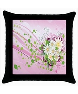 Floral Custom Throw Pillow Case (Black) - $19.95
