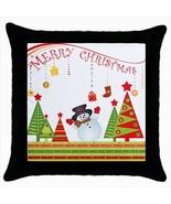 Merry Christmas Custom Throw Pillow Case (Black) - $19.95