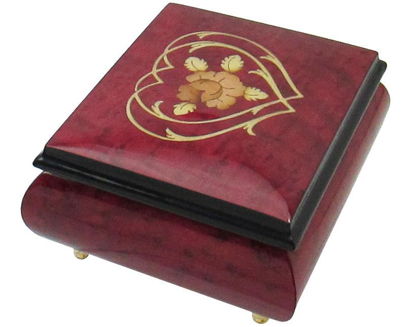 "Primary image for Italian Music Box, 5"", Red Wine with Heart Floral Inlay"