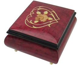"Italian Music Box, 5"", Red Wine with Heart Floral Inlay - $199.95"