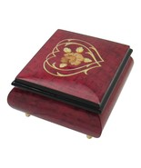 """Italian Music Box, 5"""", Red Wine with Heart Floral Inlay - $199.95"""