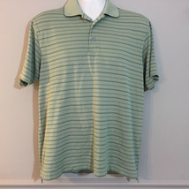 Izod Pro Series Mens Green Striped Polo Shirt Short Sleeve Size M - $8.91