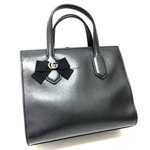 AUTHENTIC GUCCI Japan Limited GG Ribbon Hand Bag Tote Bag Black 443089 - $985.00